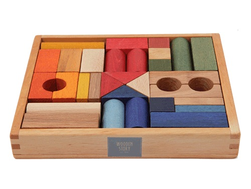 Wooden Story Rainbow Blocks 30pc