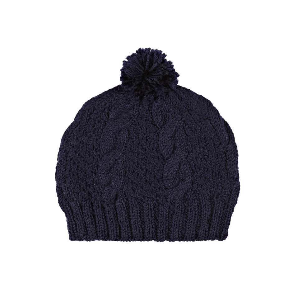 Cable Knit Beanie Navy Blue