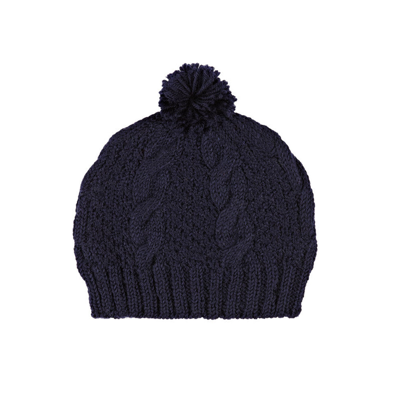 Acorn Cable Knit Beanie Navy Blue