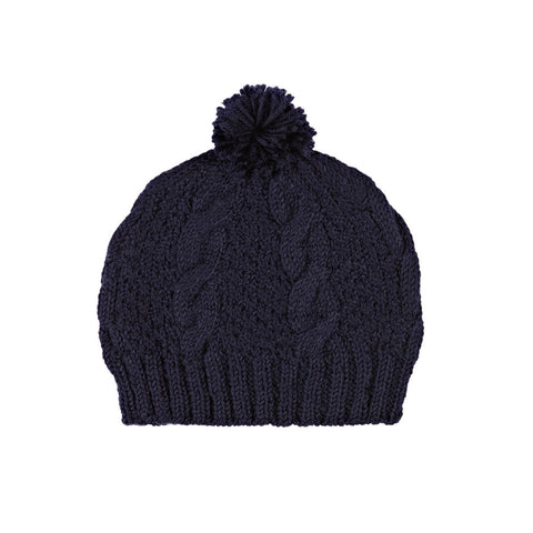 Cable Knit Beanie, Navy Blue