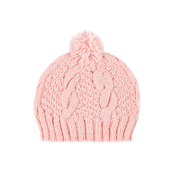 Acorn Cable Knit Beanie Pink