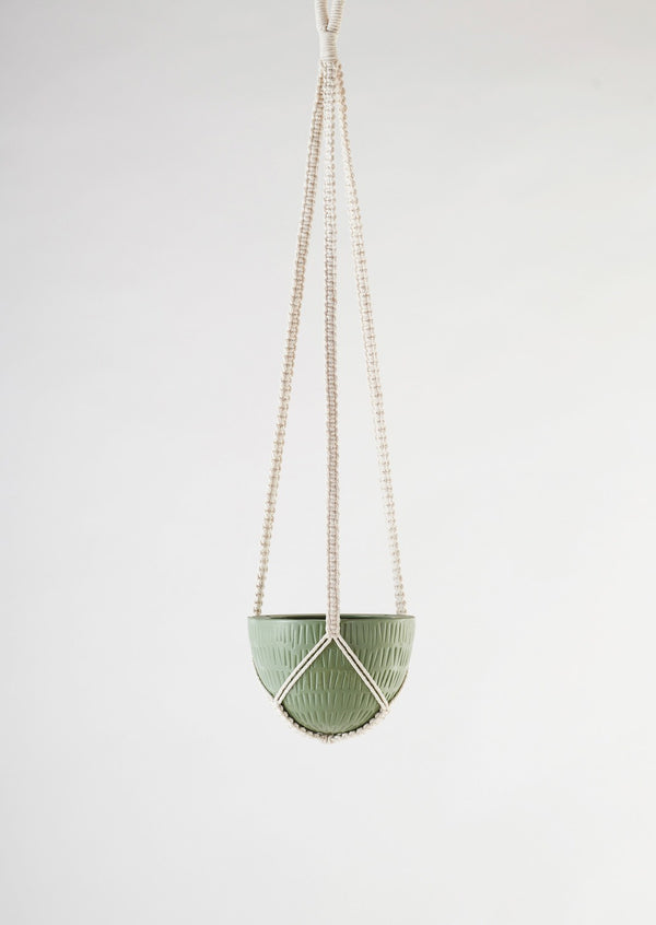 Angus & Celeste Macrame Hanging Planter Small Olive Green