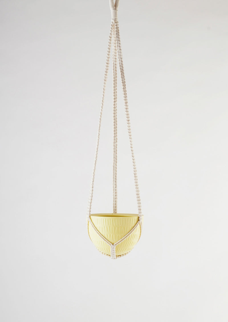 Angus & Celeste Macrame Hanging Planter Small Yellow