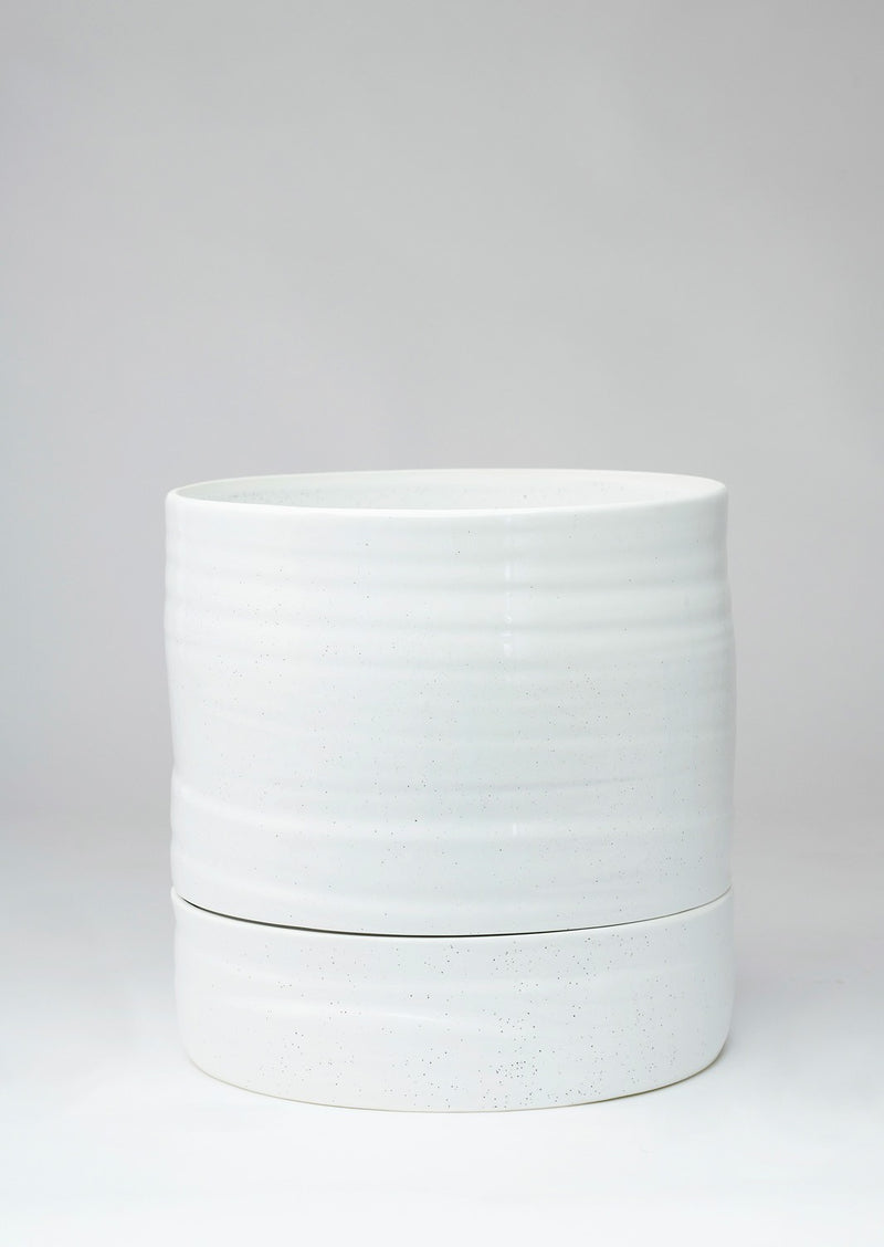 Self Watering Plant Pot Tall White Speckle