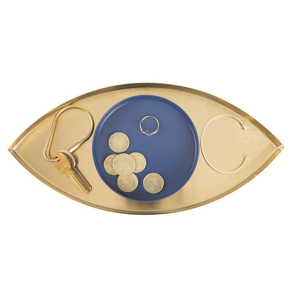 The Eye Gold & Blue Metal Tray