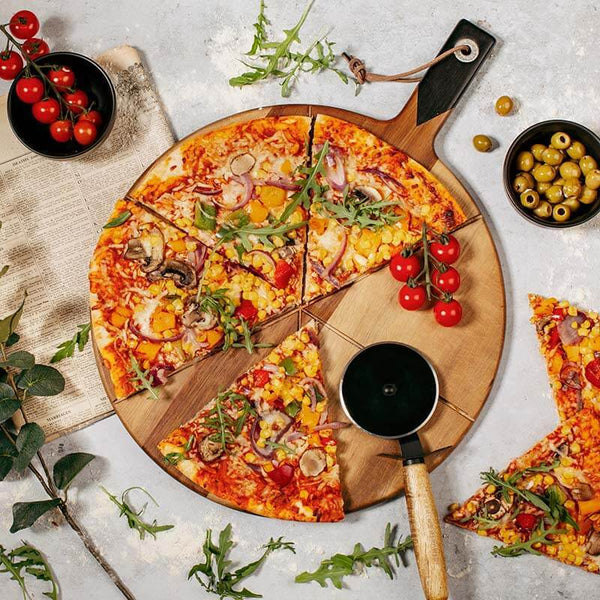 Pizza Cutter + Serving Board