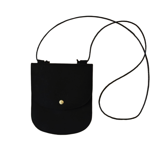 Cross Body Bag, Top Stitched Black Leather
