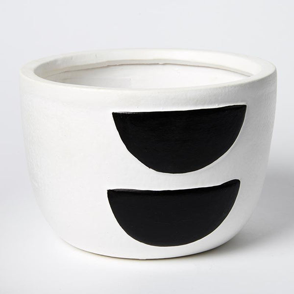 Jones & Co Half Moon Pot Black/White Small