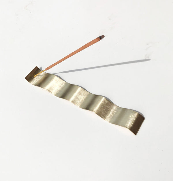 Kirsty Lief Brass Incense Holder Wave Large