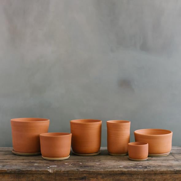 Extra Extra Large Stoneware Planter + Saucer, Terracotta