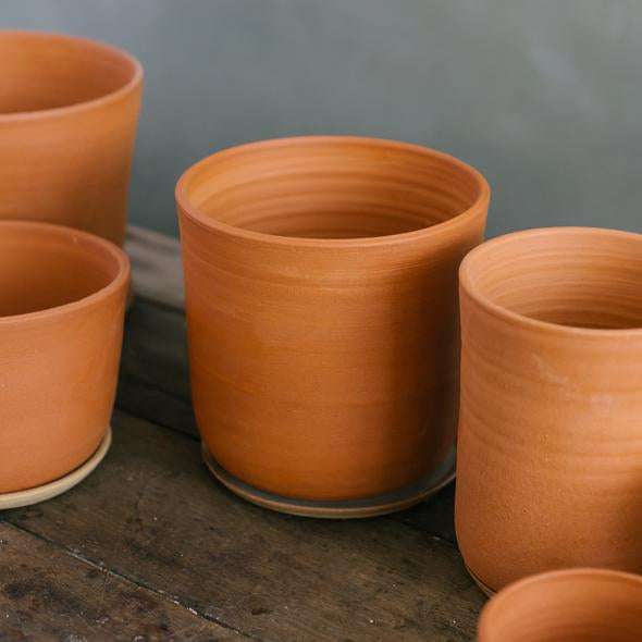 Extra Large Stoneware Planter + Saucer, Terracotta