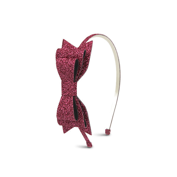 Milk & Soda Glitter Bow Headband Pink