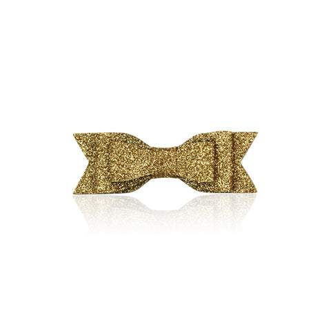 Glitter Bow Hair Clip, Gold