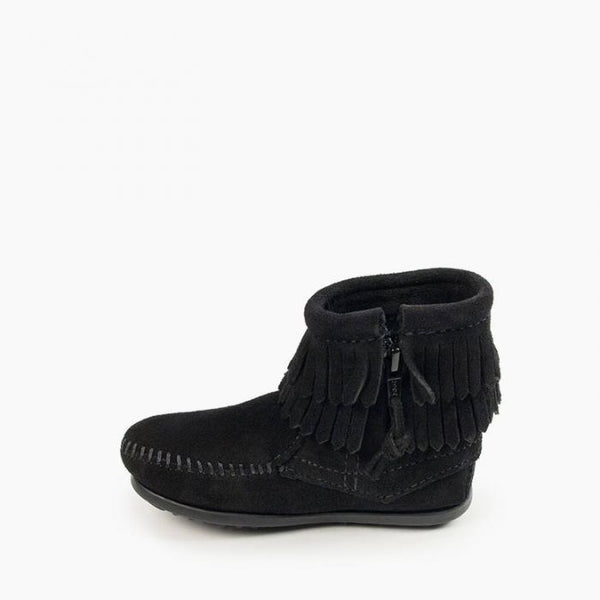 Double Fringe Side Zip Boot, Black