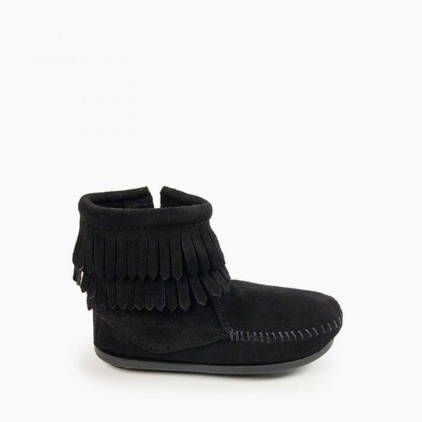 Minnetonka Double Fringe Side Zip Boot Black