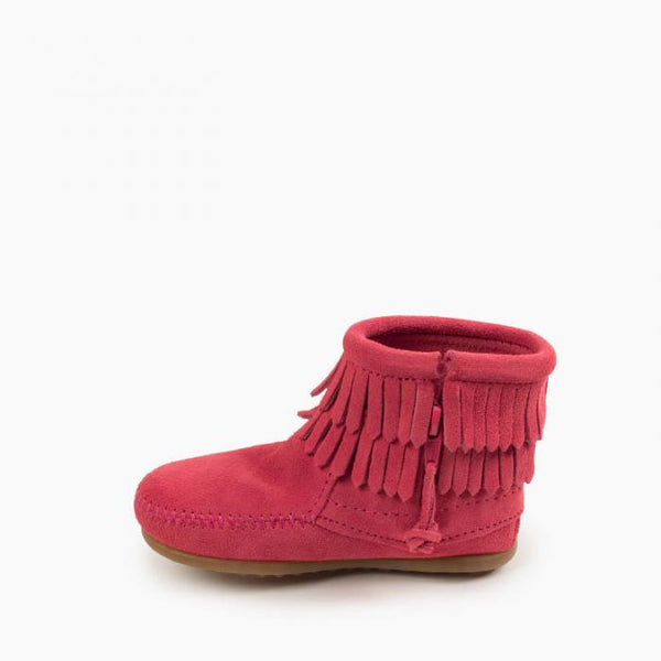 Double Fringe Side Zip Boot, Pink