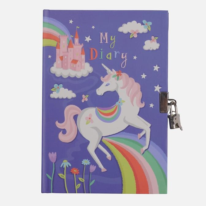 Tiger Tribe Lockable Diary Unicorn Rainbows