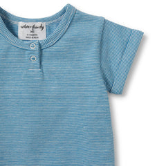 Placket Tee Mediterranean Blue Stripe