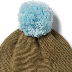 Knitted Hat With Pom Pom, Olive
