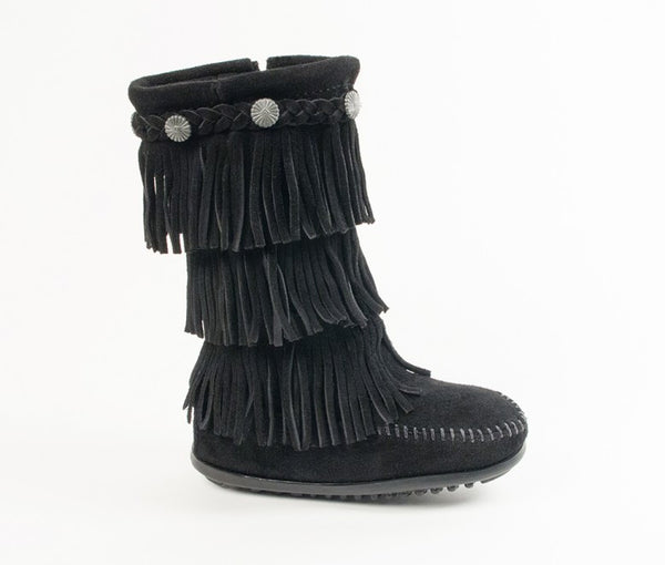 Minnetonka 3 Layer Fringe Boot Black