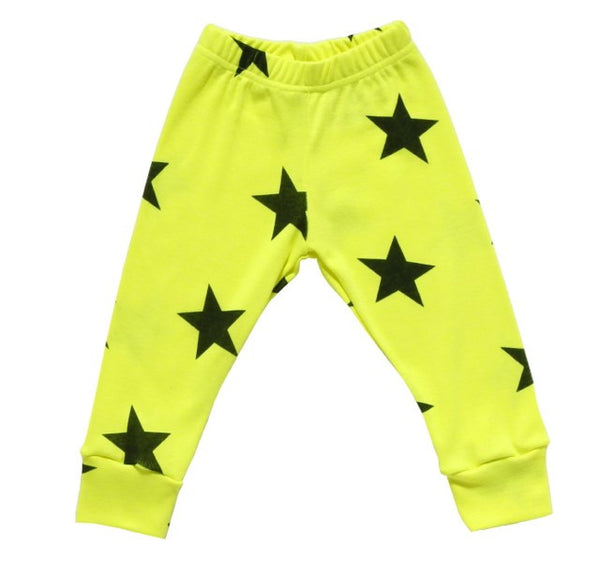 Stars Leggings, Neon Yellow