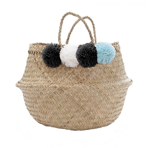 Pom Pom Basket Blue Black & White