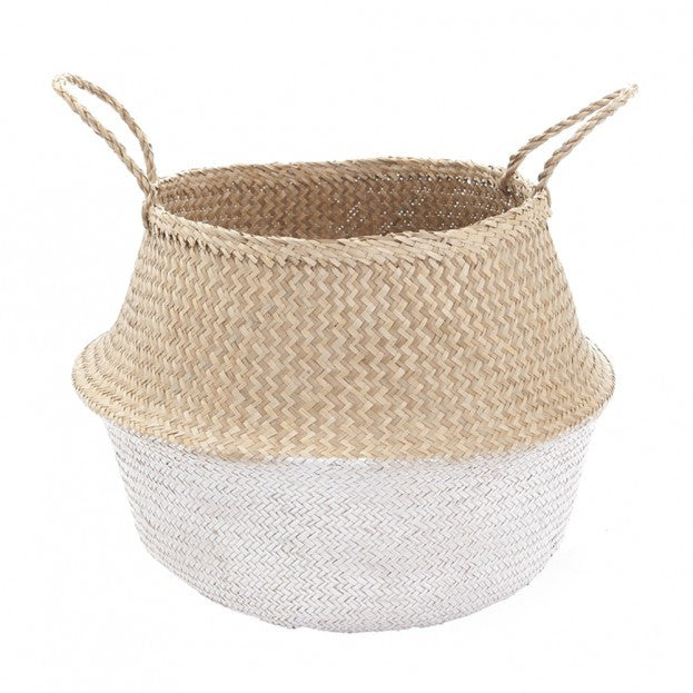 Olli Ella Belly Basket White Dipped 42cm