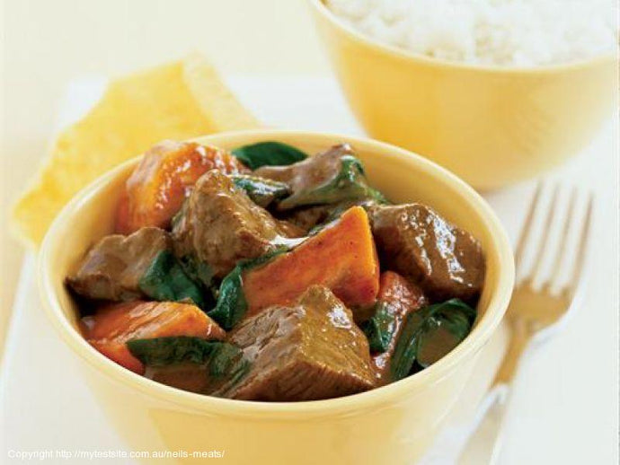 Lamb Curry with Kumara and Spinach