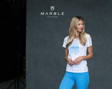 Load image into Gallery viewer, Marble ($69.00) Sky Blue Bubble on White T-Shirt