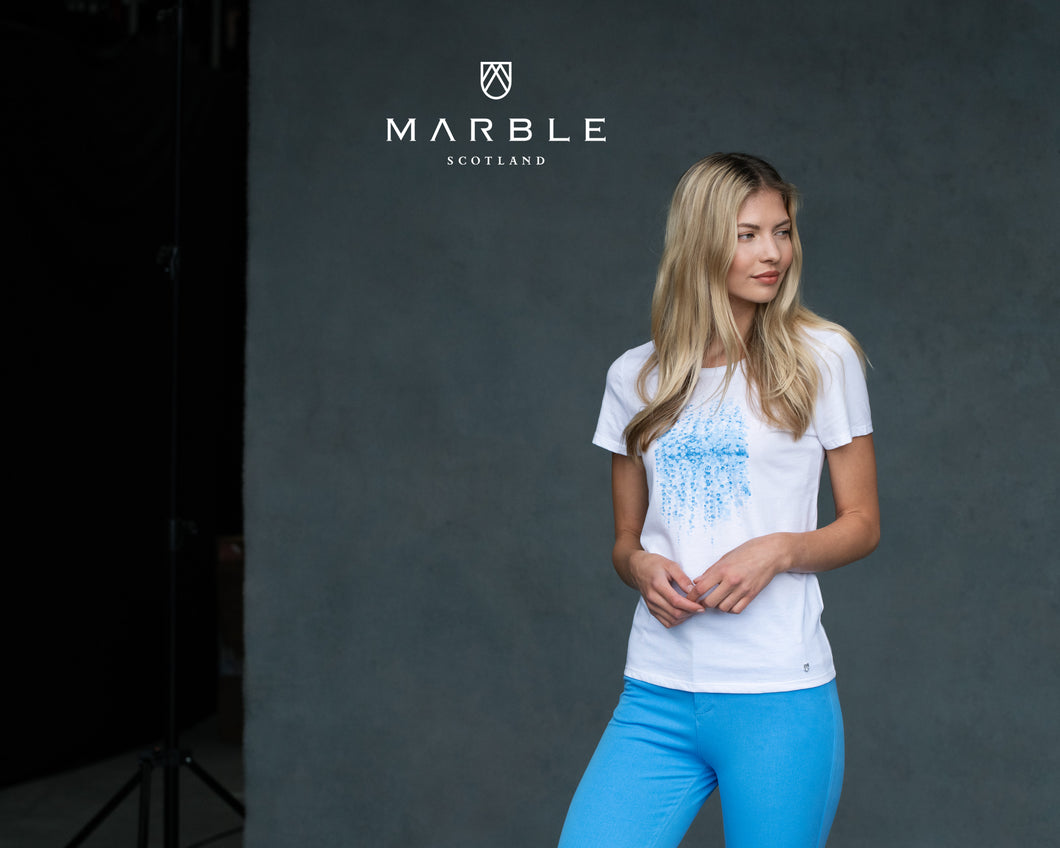Marble ($69.00) Sky Blue Bubble on White T-Shirt