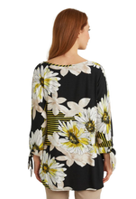 Load image into Gallery viewer, Joseph Ribkoff ($178.00) Floral Stripes Citrus Placement Print Tunic