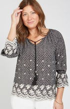 Load image into Gallery viewer, Renuar ($114.00) Black/Natural Print Blouse