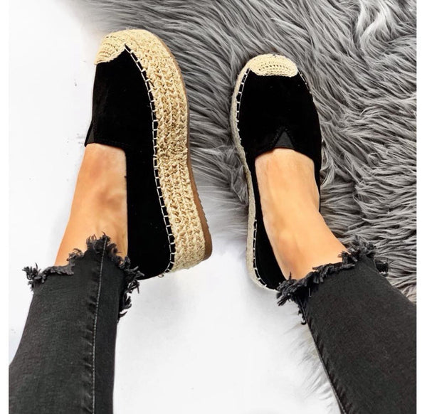 Espadrillas con suola in iuta - nero DISPONIBILE 38-39-40-41