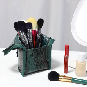 1Pc Durable PU Makeup Brush Organzier Bag Portable Stand-Up Cosmetic Holder Cup Cosmetic Bag