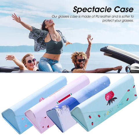 Portable Folding Cute Little Student Fresh Sunglasses Box Storage Organzier Portable Eyewear Protector PU Leather Spectacle Case