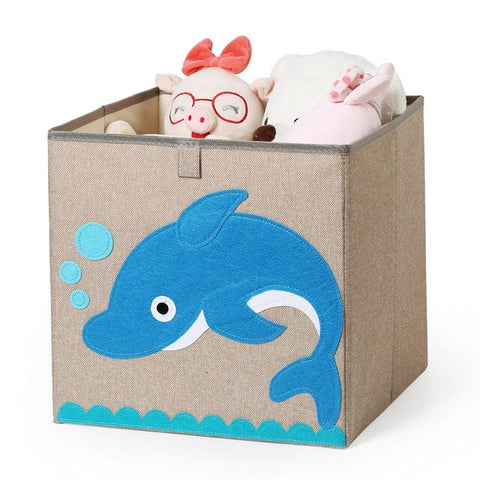 Cube Folding Storage Box Cartoon Cotton Linen Clothes Storage Bins For Kids Toy Organzier Can Be Washable Plastic Box 33*33*33cm
