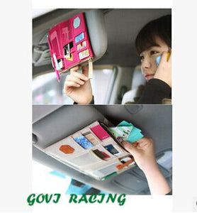 canvas  colorful Car Sun Visor  pocket  Documents Organizer Bag Storage Point  Pouch Card sun visor Holder Credit Card Namecard