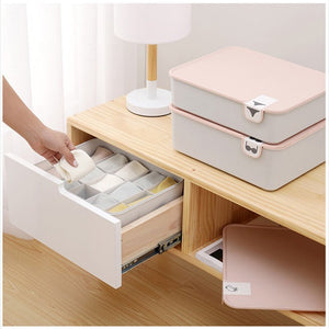 Plastic Underwear Storage Box with Mark 1/10/15 Grids Closet Organizer with Cover for Underwear Socks Bra Organizer