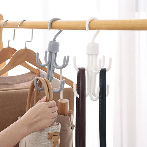 360-Degree Rotatable Tie Hanger Scarf Rack Hanger Wardrobe Closet Multi-Function Bag Clothes Storage Rack Organzier