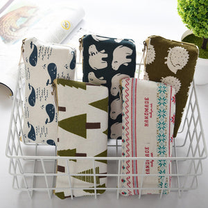1Pc Women Cosmetic Bag MakeUp Canvas Toiletry with Floral Hedgehog Polar Bear Tree pattern package Case organzier Storage Purse
