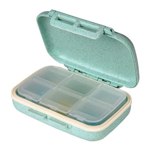 2020 New Arrival Portable Medicine Small Storage Box for Purse, Grain Fiber Sealed Pill Organzier Case Box Divided Compartment