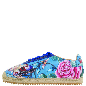 DIYA PRINTED LEATHER LACE UP ESPADRILLE - 4207
