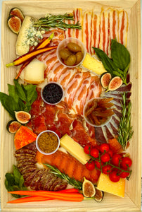 "Charcuterie and Cheese Large on Wood Board - 21"" x 14"""
