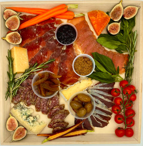 "Charcuterie and Cheese Medium on Wood Board - 15.5"" x 15.5"""