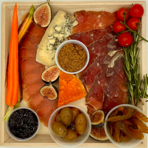 "Charcuterie and Cheese Small on Wood Board - 11 3/4"" x 11 3/4"""