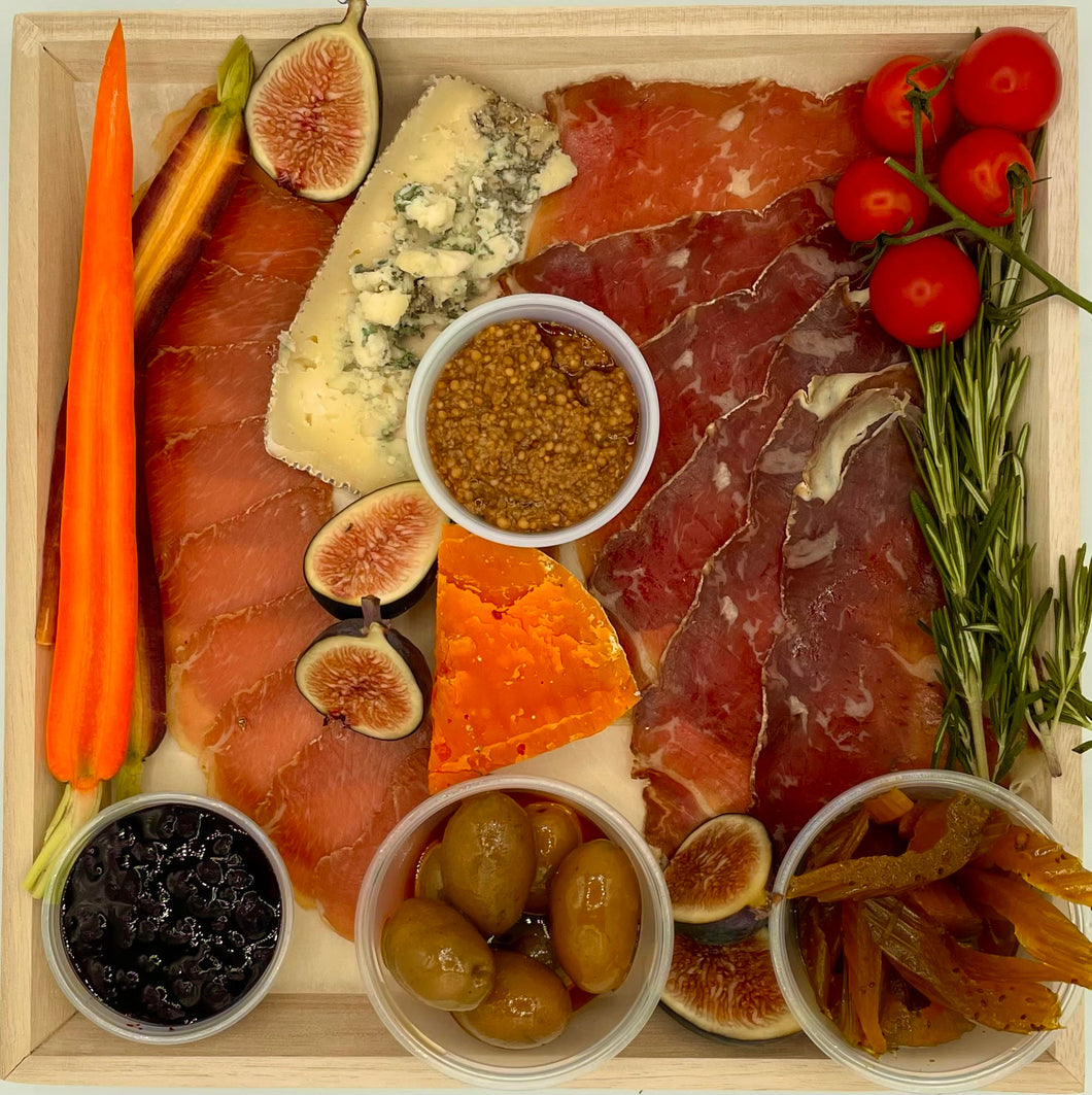 Charcuterie and Cheese Small on Wood Board - 11 3/4