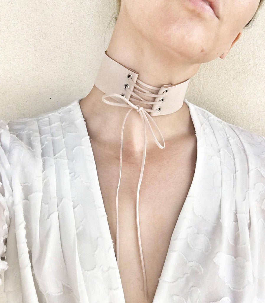 HAZEL THE LABEL - Kym Lace Up Choker | Nude