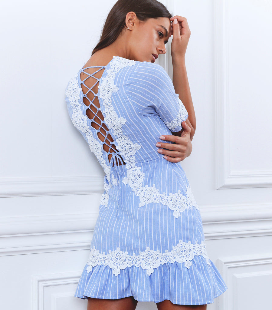 FINAL SALE - Ornate Stripe Mini Dress | Ice Blue