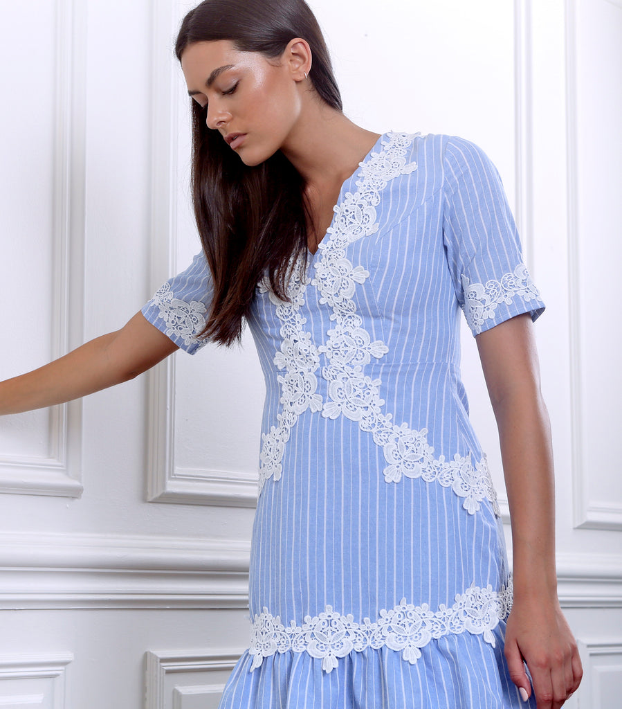 SHILLA - Ornate Stripe Mini Dress | Ice Blue