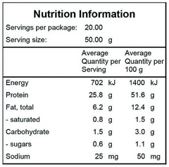 Whey Replace Superfood Shake with WPI Nutritional Chart